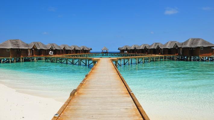 Maldív- szigetek vizi bungaloó és padló