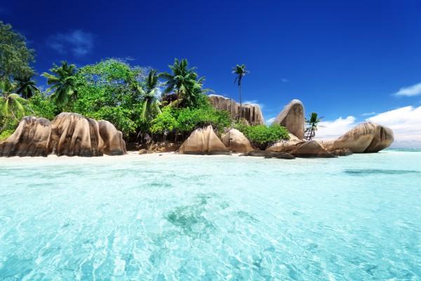 seyshelles tengerpart és kövek pálmafával