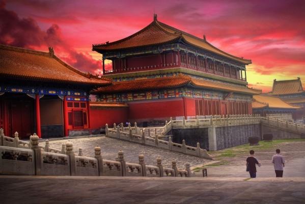 kína esti fény templom
